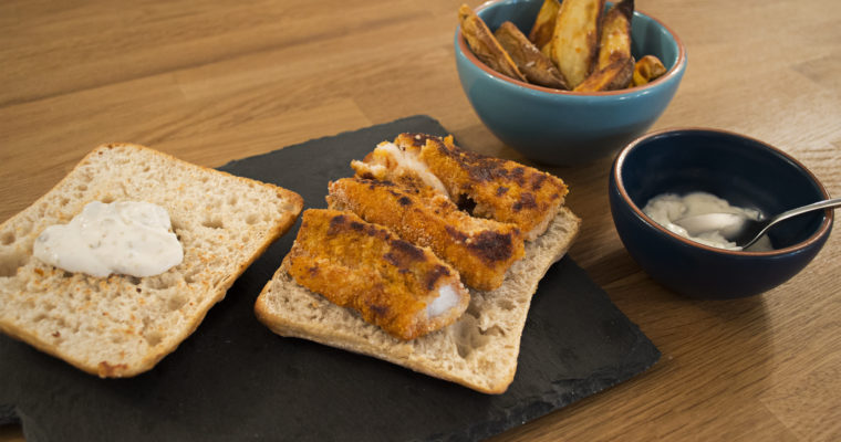 Fish Finger Sandwich, Potato Wedges and Tartar Sauce
