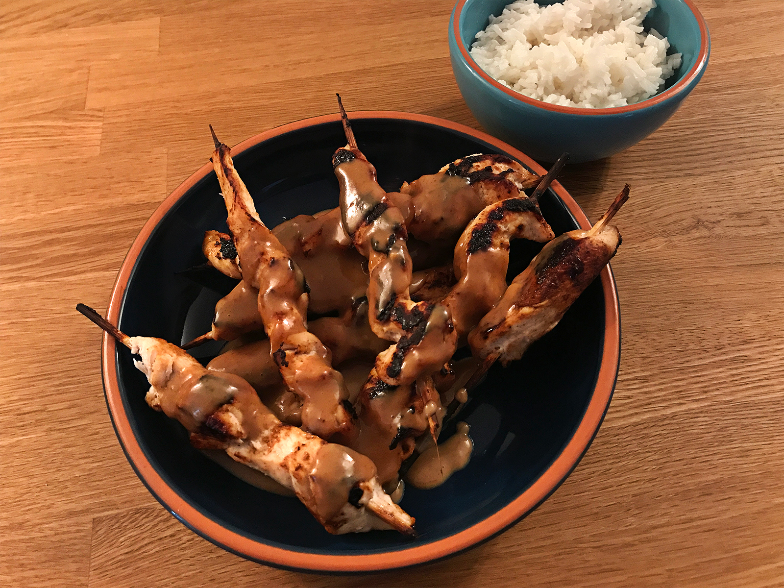 Chicken Satay Skewers with Rice